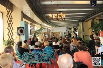 Lansarea volumului Desant 2013, autorii volumelor de proză, Cosmin Leucuţa și Beatris Serediuc, şi Ana Ionesei, câştigătoarea secțiunii de poezie.